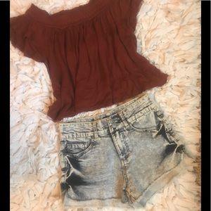 Vanilla Star Shorts - High waist denim shorts - sz 3